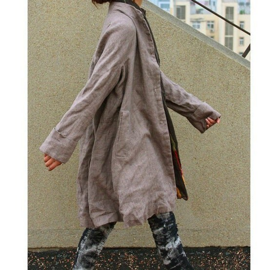 Free Style Pleated Linen Long Coat/ Cape/ Heather  Brown/ 8 Colors/ RAMIES