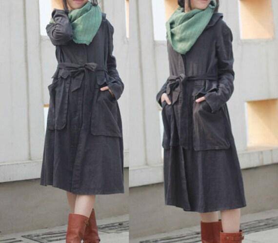 Linen Long Jacek with Belt / Coat Dress/7 Colors/ RAMIES