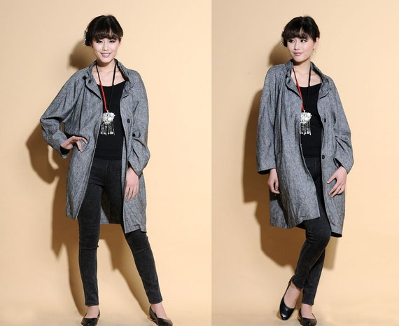 Flower Bud Ruffle Stand-up Collar Linen Long Jacket/ 11 Colors/ RAMIES