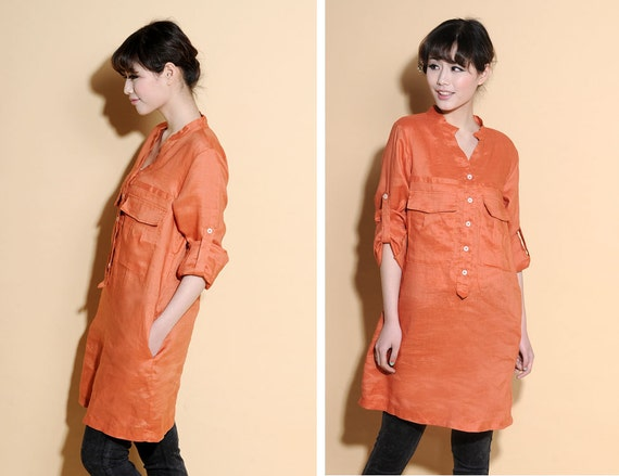Free Style Linen Shirt dress / Any Size/ 31 Colors/ RAMIES
