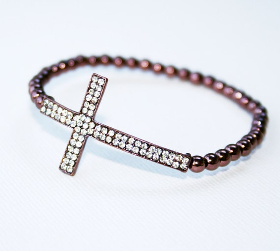 Chocolate Crystal Cross Bracelet