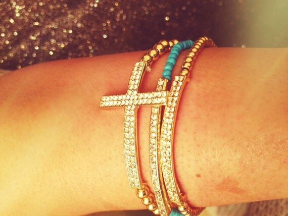 Diamond Bar Bracelet - Aqua