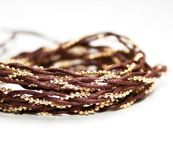 Brown and Gold Dainty Wrap Bracelet