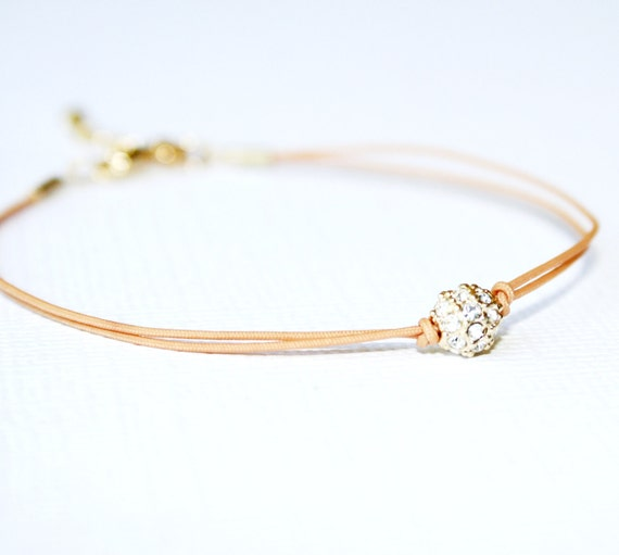 Crystal Ball Bracelet -with Tan Cord