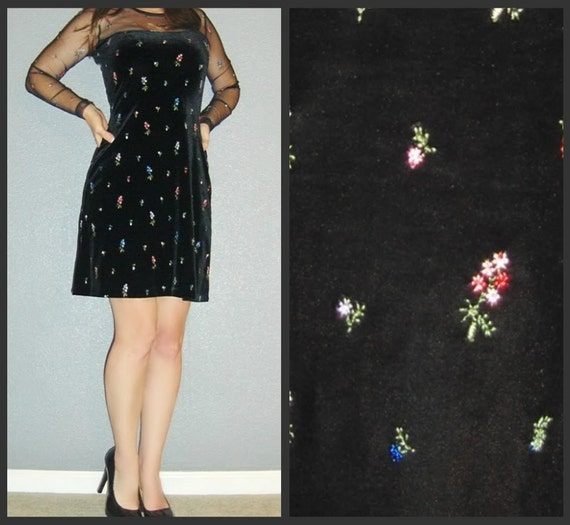 Vtg 80s black Velvet Long Sleeve Embroidered Tiny Floral Sheer Mesh Dolly MINI Dress