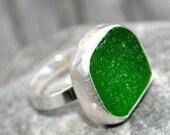 Green Beach Glass Sterling Silver Ring- Glint