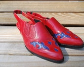 80's Red and Blue Leather Cowgirl Boot Slingbacks Size 8