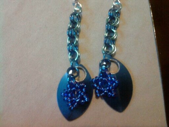 Blue Dragon Scale Chainmail Earrings
