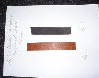 Leather striping with black nylon backing 22mm