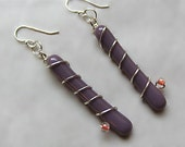 Spiraling Bead - Wire Wrapped - Fused Glass Earrings
