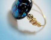 Blue Green Dichroic Fused Glass Ring