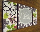 large modern nursery art- personalized triptych painting- name monogram initials-M2M decor- purple green flowers