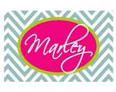 large personalized chevron painting -nursery art- name monogram initials- hand painted- M2M decor- pink blue
