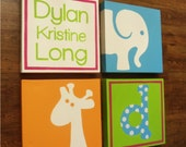 large nursery painitng- 4 canvas piece- M2M decor- colorful- custom sizes and colors available