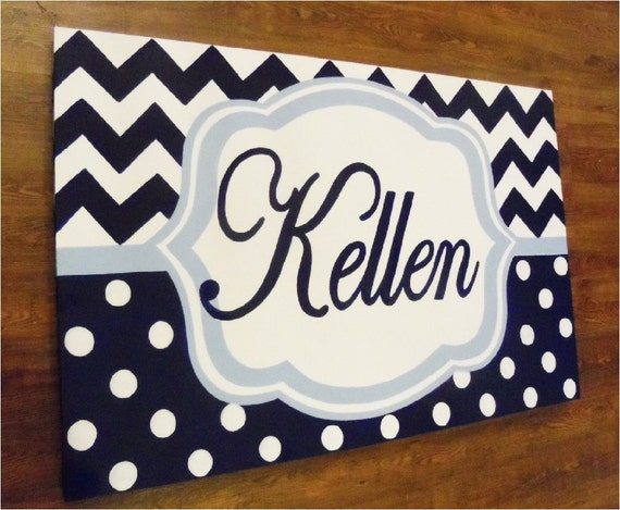 large personalized  custom canvas to match your child's decor- navy chevron and polka dots- custom sizes and designs available