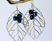 Sterling and Blackberry Spinel Leaf Earrings