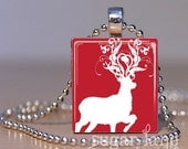 Fancy Reindeer Necklace - (HCA2 - Red, White) - Scrabble Tile Pendant with Chain