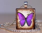 Violet Butterfly Necklace - (BB4 - Violet, Purple - Fibromyalgia) - Scrabble Tile Pendant with Chain