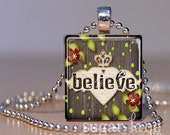 Believe Crown Necklace - (Heart, Wings & Crown - Charcoal Gray, Green, Red) - Scrabble Tile Pendant with Chain