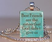 Best Friends Scrabble Necklace - (Turquoise, Brown) -  Scrabble Tile Pendant with Chain