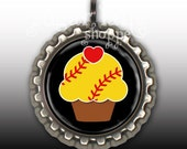 Softball Cupcake Necklace - Your Choice of Colors - Bottle Cap Pendant with Chain