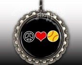 Peace Love Softball Necklace (Your Choice of 9 Colors) - Bottle Cap Pendant with Chain