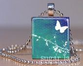 Dogwood Days Necklace - (DDB2 - Aqua, Blue, White, Butterfly) - Scrabble Tile Pendant with Chain