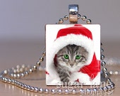 Christmas Kitten Necklace - (IA4 - Cat, Kitty, Red, White, Gray) - Scrabble Tile Pendant with Chain