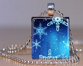 Blue and White Snowflakes Necklace - (IB1) - Scrabble Tile Pendant with Chain
