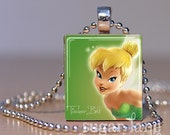 Tinkerbell Necklace - (Green, Yellow, White) - Scrabble Tile Pendant with Chain