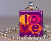 Love with a Twist Scrabble Necklace - (IC9 - Purple, Pink, Red, Yellow, Orange) - Scrabble Pendant with Chain