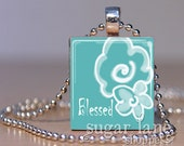 Blessed Flower Necklace - (ISB2, Aqua Blue, White, Doodled Flowers) - Scrabble Tile Pendant with Chain