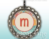 Monogram Initial Bottle Cap Necklace (Spring Plaid, Aqua, Orange, Pink, Coral) - Chain Included