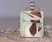 Snowman with a Heart Necklace - (SFD6 - Primitive, Pale Blue, Burgandy, Winter White) - Scrabble Tile Pendant with Chain