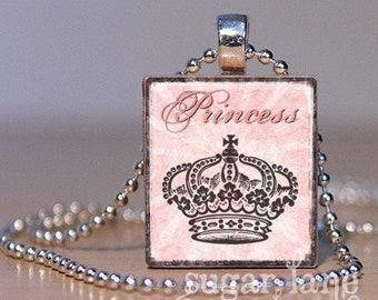 Shabby Chic Princess Necklace - Pink, Charcoal Gray - Scrabble Tile Pendant with Chain