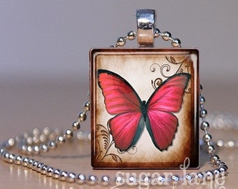Butterfly Necklace - (BB1 - Cranberry Red, Brown) -  Scrabble Tile Pendant with Chain