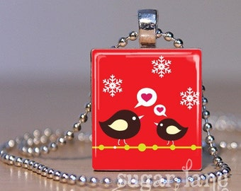 Happy Winter Songbirds Necklace - (ACCD6 - Red, White, Snowflakes) - Scrabble Tile Pendant with Chain