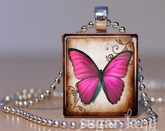 Butterfly Necklace - (BB2 - Fuschia, Brown, Ivory) - Scrabble Tile Pendant with Chain