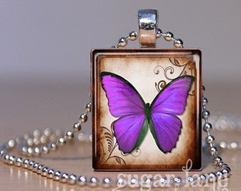 20% Off w/Coupon - Violet Butterfly Necklace - (BB4 - Violet, Purple - Fibromyalgia) - Scrabble Tile Pendant with Chain