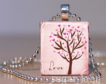 Flutter Hearts Tree Necklace - (Pink, Brown) - Scrabble Tile Pendant with Chain