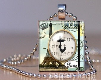 Monogram Initial Necklace - Little Piece of Paris - Scrabble Tile Pendant with Chain