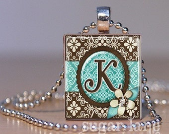 Monogram Initial Necklace - Teal and Brown Damask - Scrabble Tile Pendant with Chain