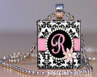 Monogram Scrabble Initial Necklace - Pink and Black Damask - Scrabble Tile Pendant with Chain