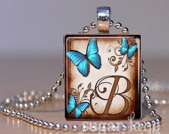 Monogram Initial Necklace - Blue Aqua Morpho Butterfly - Scrabble Tile Pendant with Chain