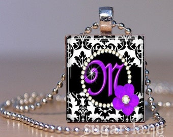 Monogram Scrabble Initial Necklace - Purple and Black Damask - Scrabble Tile Pendant with Chain