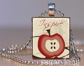 Inspire Teacher's Scrabble Necklace - Red, Brown, Ivory - Scrabble Tile Pendant with Chain