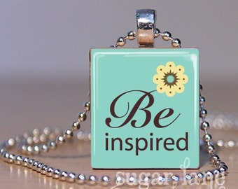Be Inspired Necklace - Aqua, Ivory, Brown - Scrabble Tile Pendant with Chain
