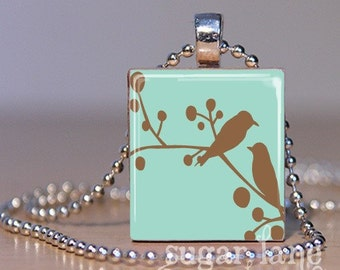 Birds on a Branch Necklace - (FFE3 - Light Brown, Aqua Blue) - Scrabble Tile Pendant with Chain