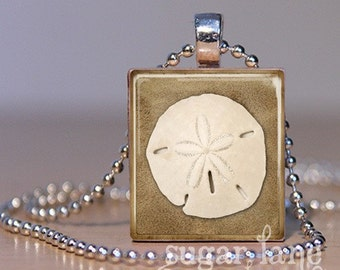Sand Dollar Scrabble Necklace - Scrabble Tile Pendant with FREE chain