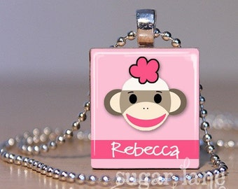 Personalized Sock Monkey Necklace - Pink - Scrabble Tile Pendant with Chain